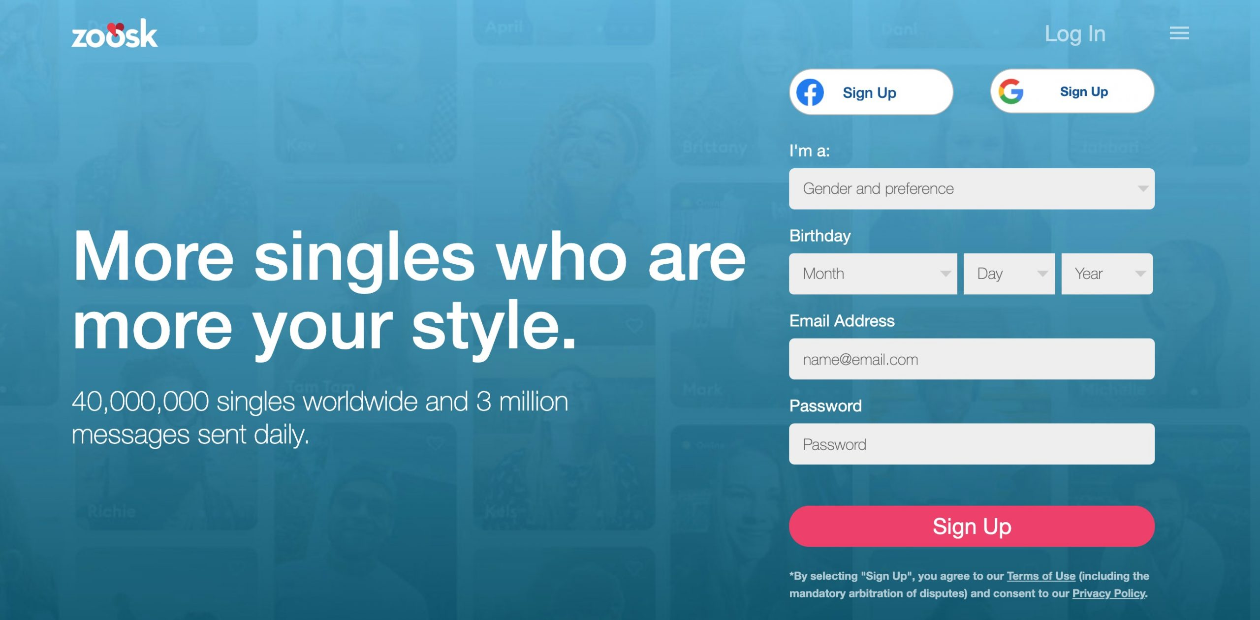 Zoosk main page