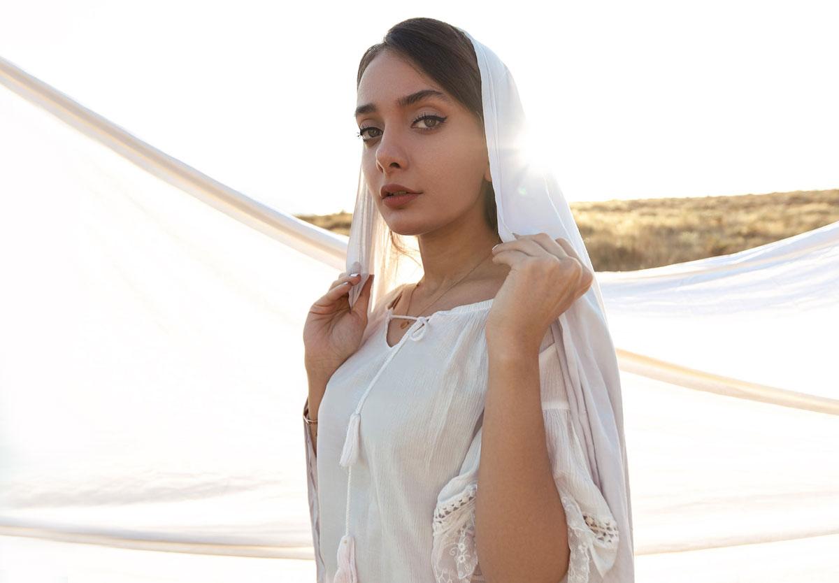 muslim Turkish Bride in white headscarf